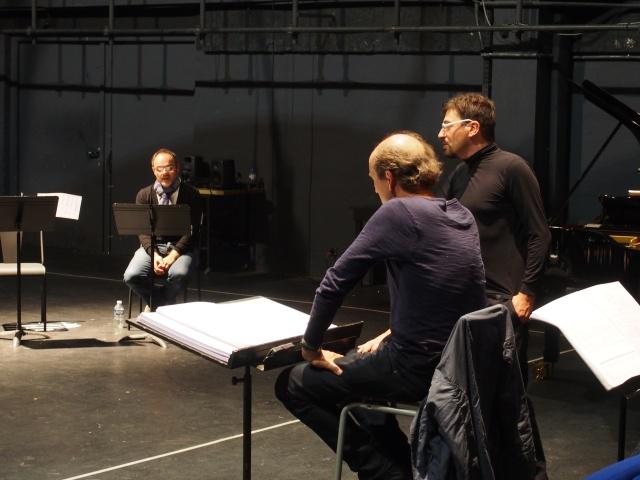 Lionel Peintre avec Peter Rundel et Francesco Filidei.